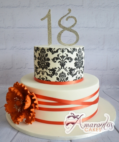Two Teir With Damask Cake