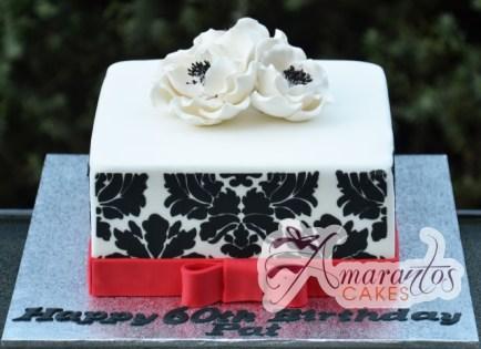 Square Base with White Flowers - Amarantos Designer Cakes Melbourne