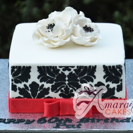 Square Base with White Flowers - Amarantos Designer Cakes Melbourne