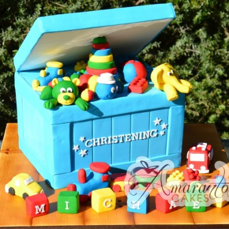 Two tier with Christening Toy Box – CC24