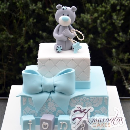 Two tier with Teddy - Amarantos Cakes Melbourne