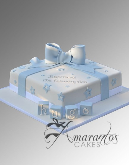 Square Christening cake with Bow CC44