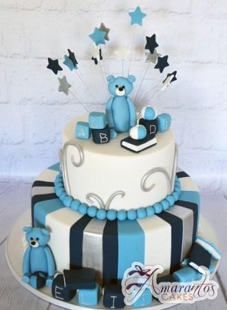 Two Tier Christening Cake - Amarantos Designer Cakes Melbourne