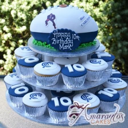 Footy Cup Cake T - Amarantos Designer Cakes Melbourne