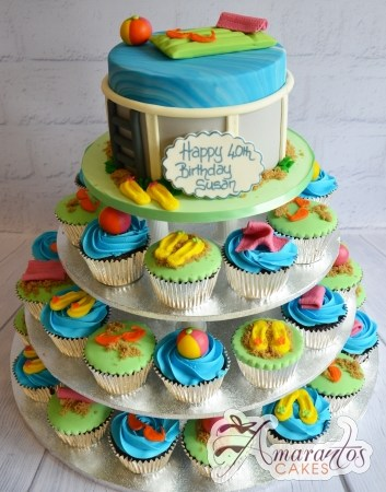 Pool Party Cup Cake Tower- CT63
