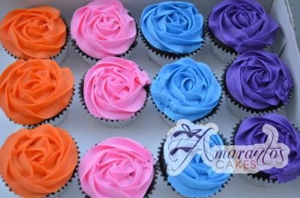 Multi-Coloured Rose Cupcakes - Amarantos Designer Cakes Melbourne