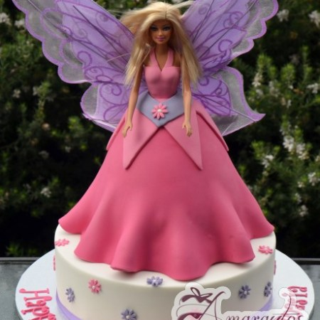 Fairy Barbie on base cake-NC278