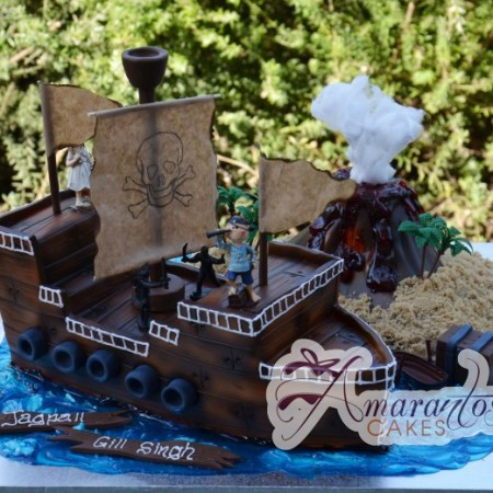 3D Pirate Ship & Volcano- NC46