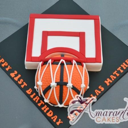 Basket Ball and Hoop Cake - Amarantos Designer Cakes Melbourne