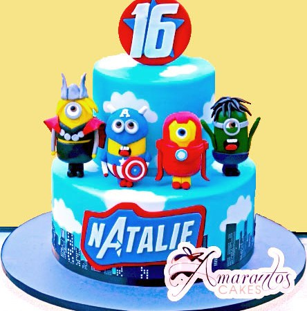 Two tier Minion Avengers cake – NC793