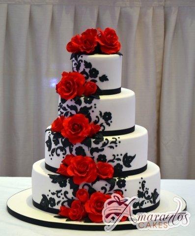 Four Tier with Roses Cake - Amarantos Custom Made Cakes Melbourne