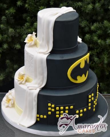 Three Tier Half and Half Wedding Cake - Amarantos Beautiful Cakes Melbourne
