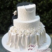 Three Tier Half and Half Wedding Cake - Amarantos Custom Made Cakes Melbourne