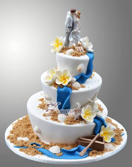 Beach theme wedding cake WC87