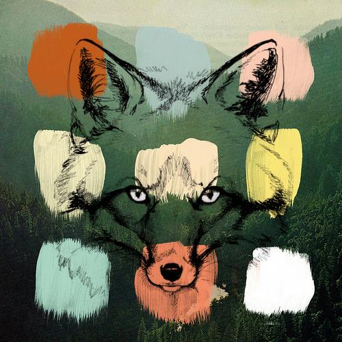 fox over paint on landscape