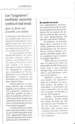 Artículo sobre el acuerdo del Ministerio y la Federación de Cargadores. La Prensa. Bolivia, 2009