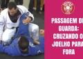 Prof. Áquila demonstrando Passagem de guarda De La Riva cruzando o joelho para fora no prof. Rodrigo Acioli