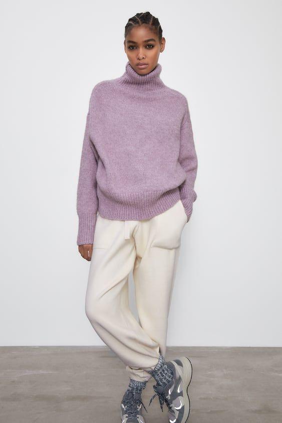 como combinar un jersey lila calentito