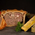 Brays medium pork pie, sold at Amaretto Deli, Norwich