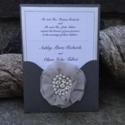 Panel Pocket invite with flower appliqué