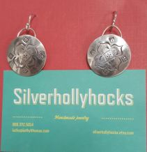 Kathy Thomas Handmade Sterling Silver Holly Hocks Earrings