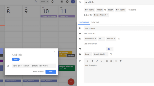 Add an entry to Google Calendar