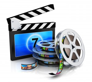 Clapper board and film reel with filmstrip