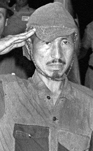 iroo Onoda, who wouldn't surrender for nearly three decades and continued to battle with villagers in the Philippines, in March 1974 after he was convinced to give up.