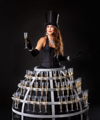 Service Entertainment Strolling Champagne Dress