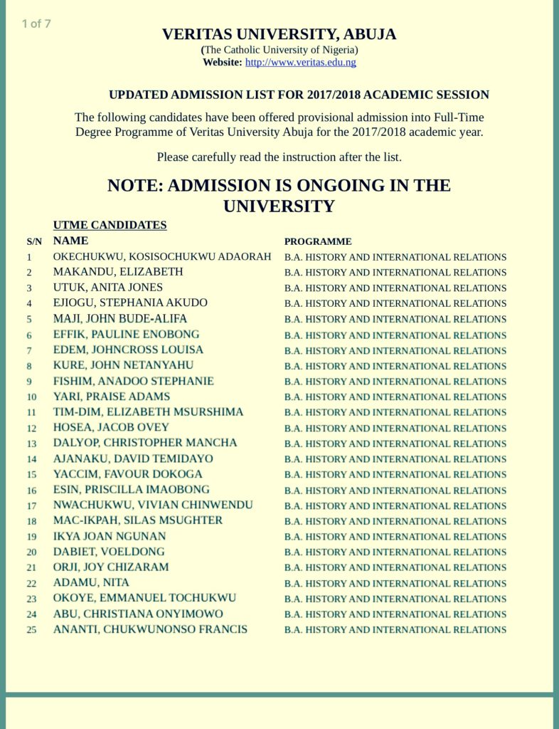 Veritas University Admission List