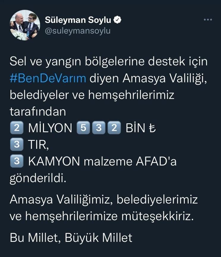 Bakan Soylu'dan Amasyalılara yardım teşekkürü