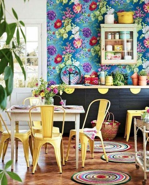 Carta da parati floreale per la cucina