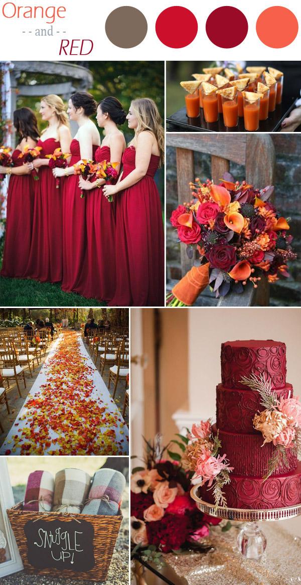 palette colori matrimonio arancio e rosso