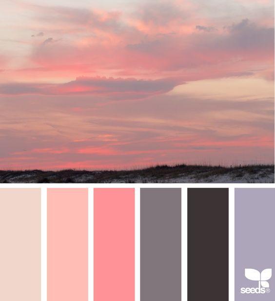 Palette colore con colori del tramonto e Living Coral