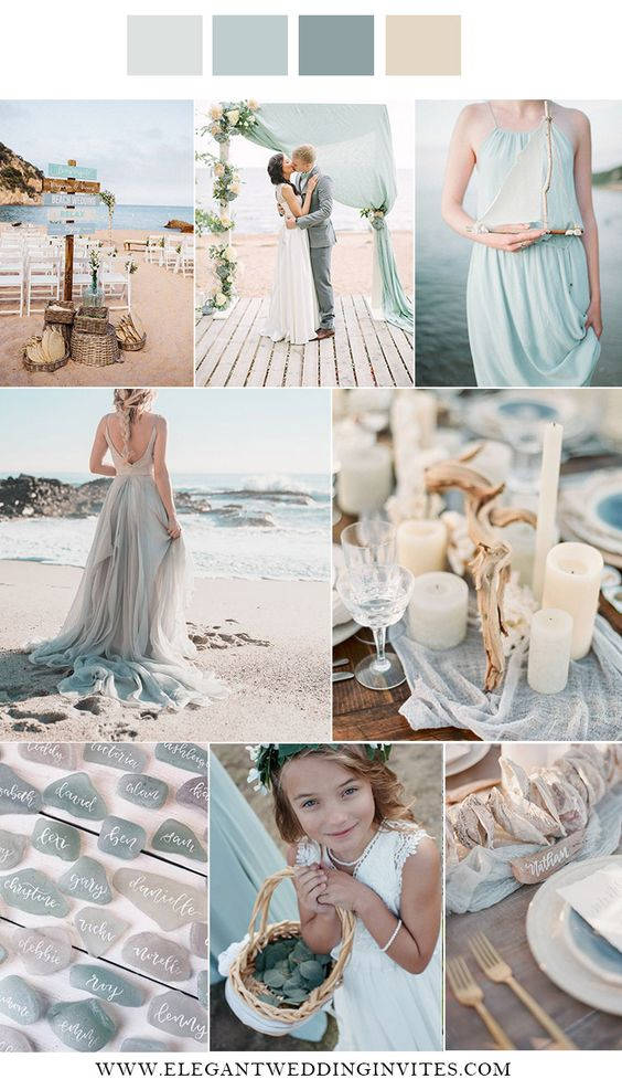 Palette naturale per il matrimonio in spiaggia