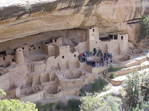 2014May - Mesa Verde NP (CO) - view of Cliff Palace from overlook point - ticketed tour in progress-1