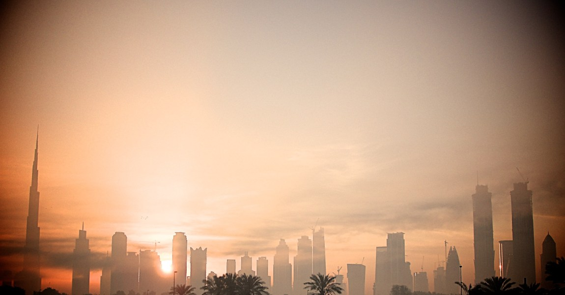 Morning view of the the Dubai skyline.