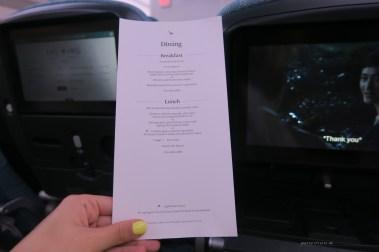 Cathay Pacific CX134 economy menu
