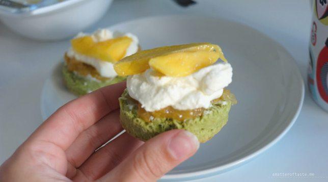 Matcha scones with Japanese yuzu jam and mango pieces recipe