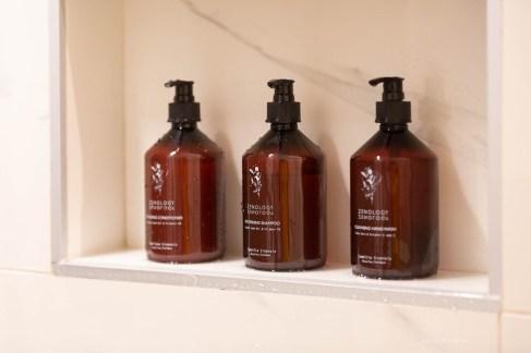 Zenology cosmetics in the bathroom.