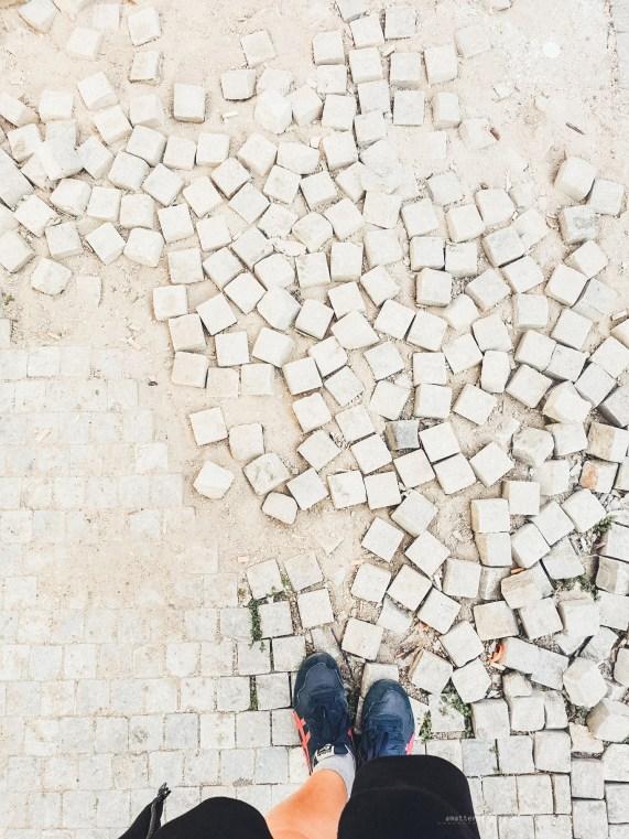 Prague broken cobblestones