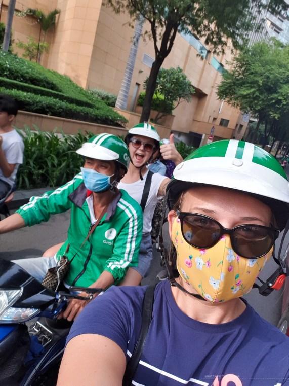 moto taxi saigon group selfie