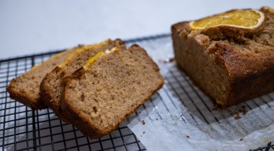 orange cardamom cake - sliced