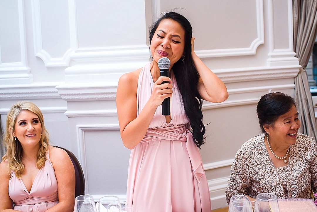 Corinthia Hotel Wedding Photographer sister of the bride speech
