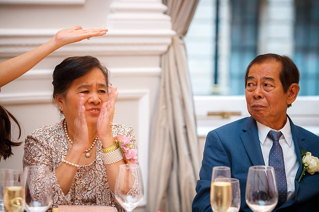 Corinthia Hotel Wedding Photographer emotional parents during the speech