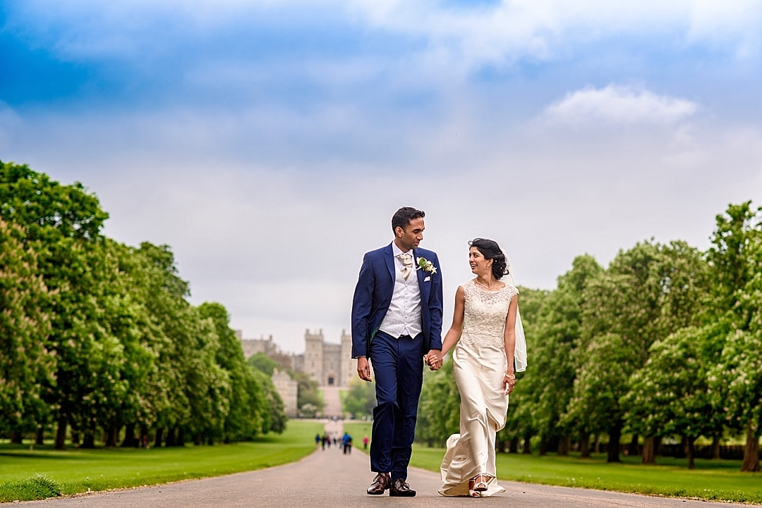 vill Court Wedding Photography bride and groom walking the Long Walk in Windsor