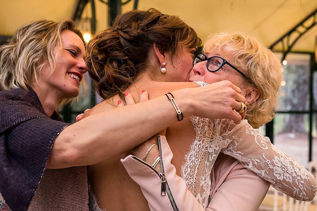 Chateau De Berne Reception Bride Hugging