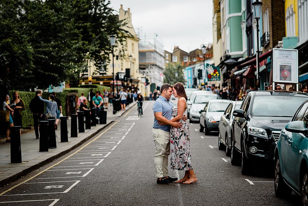 Romantic London Engagement Photography Notting Hill Book Shop