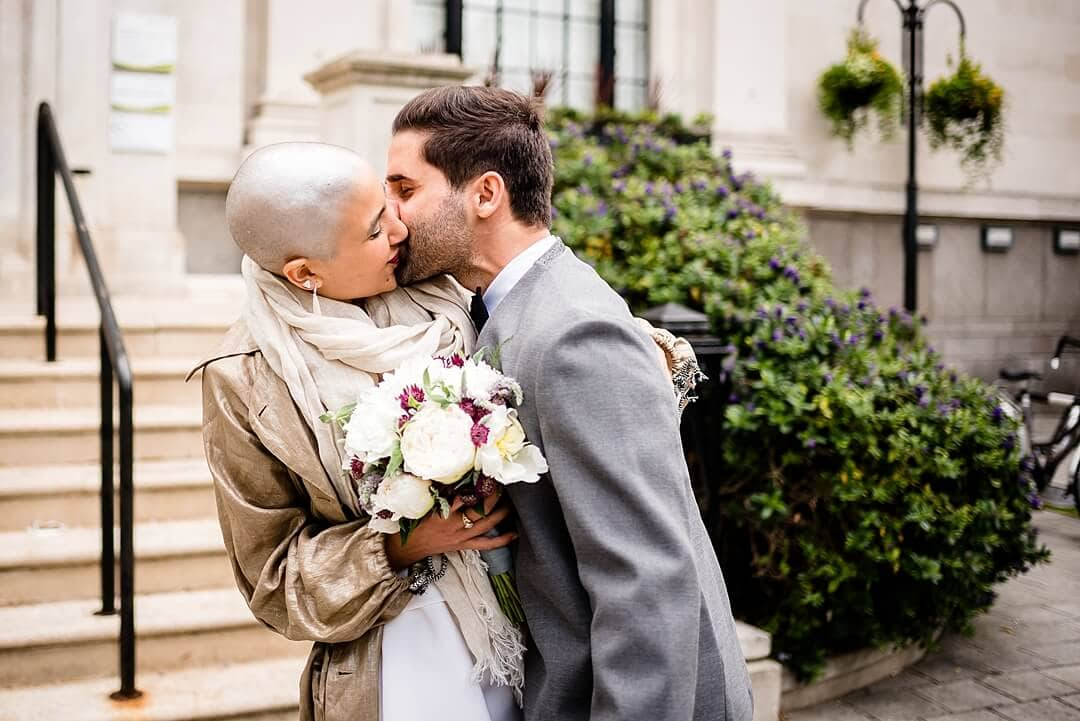 Islington Town Hall Wedding Photographer Bride & Groom The Kiss