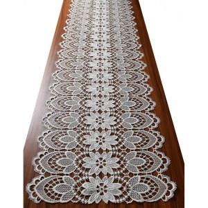 Edler Luftspitzen-Tischläufer Frida Plauener Spitze natur Tischband Tischdecke